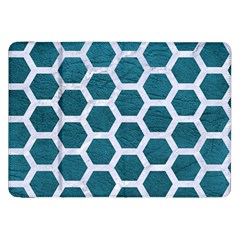 Hexagon2 White Marble & Teal Leather Samsung Galaxy Tab 8 9  P7300 Flip Case by trendistuff