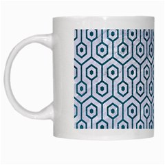 Hexagon1 White Marble & Teal Leather (r) White Mugs by trendistuff