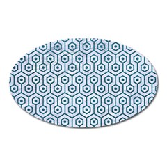 Hexagon1 White Marble & Teal Leather (r) Oval Magnet by trendistuff