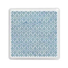 Hexagon1 White Marble & Teal Leather (r) Memory Card Reader (square)  by trendistuff