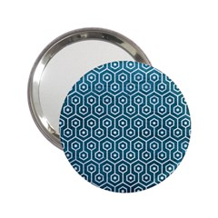 Hexagon1 White Marble & Teal Leather 2 25  Handbag Mirrors by trendistuff