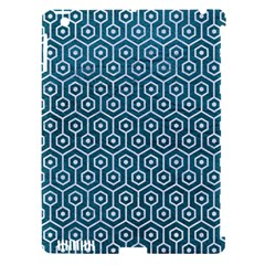 Hexagon1 White Marble & Teal Leather Apple Ipad 3/4 Hardshell Case (compatible With Smart Cover) by trendistuff