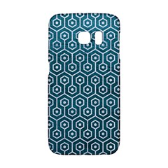 Hexagon1 White Marble & Teal Leather Galaxy S6 Edge