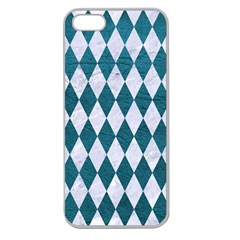 Diamond1 White Marble & Teal Leather Apple Seamless Iphone 5 Case (clear) by trendistuff