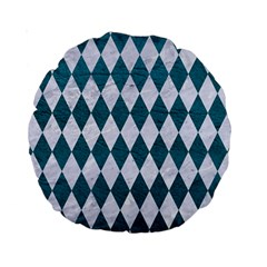 Diamond1 White Marble & Teal Leather Standard 15  Premium Round Cushions by trendistuff