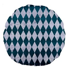 Diamond1 White Marble & Teal Leather Large 18  Premium Round Cushions by trendistuff