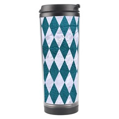 Diamond1 White Marble & Teal Leather Travel Tumbler by trendistuff