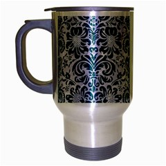 Damask2 White Marble & Teal Leather (r) Travel Mug (silver Gray) by trendistuff