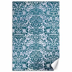 Damask2 White Marble & Teal Leather (r) Canvas 20  X 30   by trendistuff