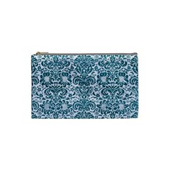 Damask2 White Marble & Teal Leather (r) Cosmetic Bag (small)  by trendistuff