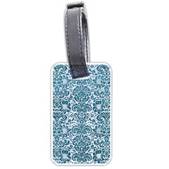 Damask2 White Marble & Teal Leather (r) Luggage Tags (one Side)  by trendistuff