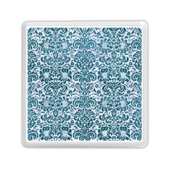 Damask2 White Marble & Teal Leather (r) Memory Card Reader (square)  by trendistuff