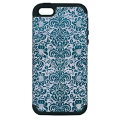 Damask2 White Marble & Teal Leather (r) Apple Iphone 5 Hardshell Case (pc+silicone) by trendistuff