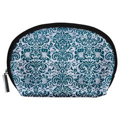 Damask2 White Marble & Teal Leather (r) Accessory Pouches (large)  by trendistuff
