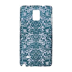 Damask2 White Marble & Teal Leather (r) Samsung Galaxy Note 4 Hardshell Case by trendistuff