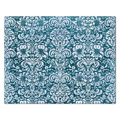 Damask2 White Marble & Teal Leather Rectangular Jigsaw Puzzl
