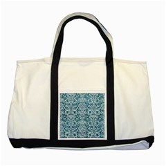 Damask2 White Marble & Teal Leather Two Tone Tote Bag by trendistuff