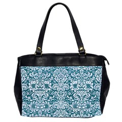 Damask2 White Marble & Teal Leather Office Handbags (2 Sides)  by trendistuff