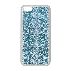 Damask2 White Marble & Teal Leather Apple Iphone 5c Seamless Case (white) by trendistuff
