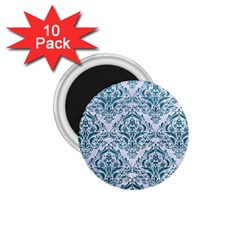 Damask1 White Marble & Teal Leather (r) 1 75  Magnets (10 Pack)  by trendistuff