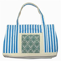 Damask1 White Marble & Teal Leather (r) Striped Blue Tote Bag by trendistuff
