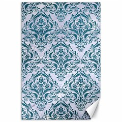 Damask1 White Marble & Teal Leather (r) Canvas 24  X 36  by trendistuff