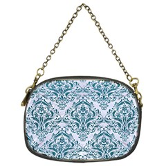 Damask1 White Marble & Teal Leather (r) Chain Purses (one Side)  by trendistuff