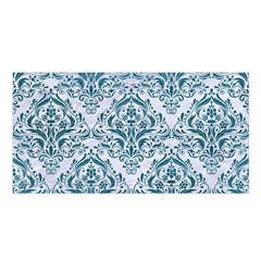 Damask1 White Marble & Teal Leather (r) Satin Shawl by trendistuff