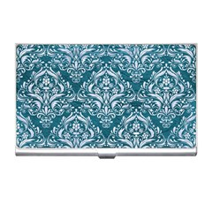 Damask1 White Marble & Teal Leather Business Card Holders by trendistuff