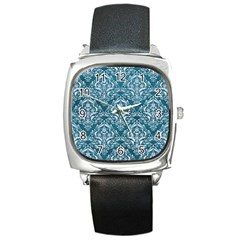 Damask1 White Marble & Teal Leather Square Metal Watch by trendistuff