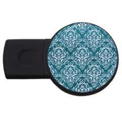 Damask1 White Marble & Teal Leather Usb Flash Drive Round (4 Gb) by trendistuff