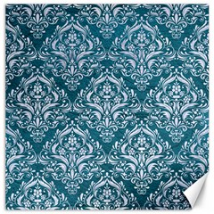 Damask1 White Marble & Teal Leather Canvas 16  X 16   by trendistuff