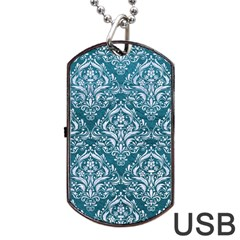 Damask1 White Marble & Teal Leather Dog Tag Usb Flash (two Sides) by trendistuff