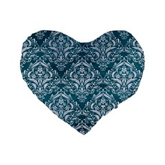 Damask1 White Marble & Teal Leather Standard 16  Premium Flano Heart Shape Cushions by trendistuff