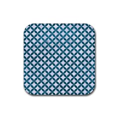 Circles3 White Marble & Teal Leather (r) Rubber Square Coaster (4 Pack)  by trendistuff