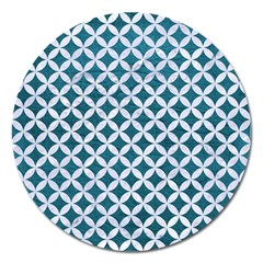 Circles3 White Marble & Teal Leather Magnet 5  (round) by trendistuff