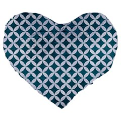 Circles3 White Marble & Teal Leather Large 19  Premium Flano Heart Shape Cushions by trendistuff