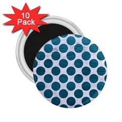 Circles2 White Marble & Teal Leather (r) 2 25  Magnets (10 Pack)