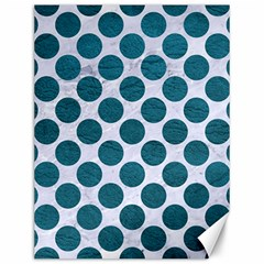 Circles2 White Marble & Teal Leather (r) Canvas 12  X 16   by trendistuff