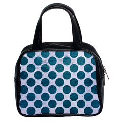 Circles2 White Marble & Teal Leather (r) Classic Handbags (2 Sides) by trendistuff