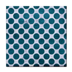 Circles2 White Marble & Teal Leather (r) Face Towel by trendistuff