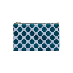 Circles2 White Marble & Teal Leather (r) Cosmetic Bag (small)  by trendistuff