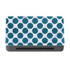 Circles2 White Marble & Teal Leather (r) Memory Card Reader With Cf by trendistuff