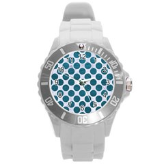 Circles2 White Marble & Teal Leather (r) Round Plastic Sport Watch (l) by trendistuff