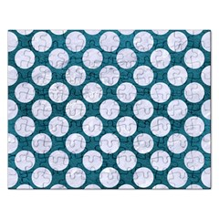 Circles2 White Marble & Teal Leather Rectangular Jigsaw Puzzl by trendistuff