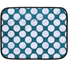 Circles2 White Marble & Teal Leather Fleece Blanket (mini) by trendistuff