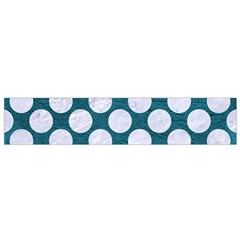 Circles2 White Marble & Teal Leather Small Flano Scarf by trendistuff