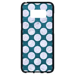 Circles2 White Marble & Teal Leather Samsung Galaxy S8 Black Seamless Case by trendistuff