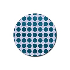 Circles1 White Marble & Teal Leather (r) Rubber Coaster (round)