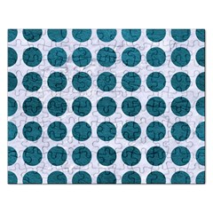 Circles1 White Marble & Teal Leather (r) Rectangular Jigsaw Puzzl by trendistuff